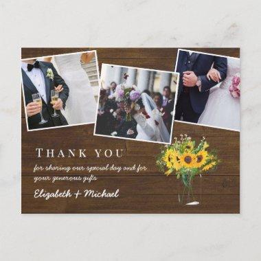 Thank You Wedding Photos Rustic Fall Budget Postcard