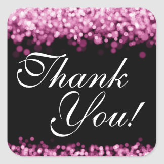 Thank You Wedding Pink Lights Square Sticker