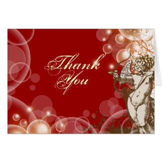 Thank you wedding red floral swirls card