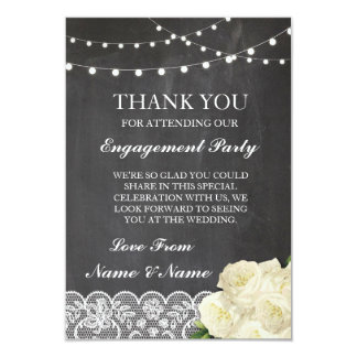 Thank You Wedding Rustic Chalk Lace Lights Card