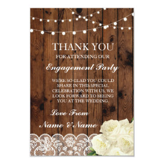 Thank You Wedding Rustic Wood Lace Lights Card