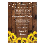 Thank You Wedding Rustic Wood Sunflowers Card