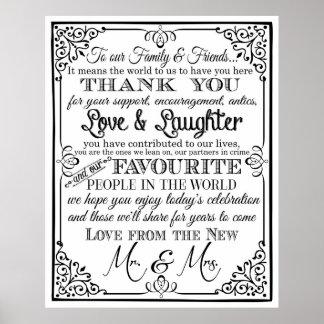 Thank you wedding sign Black & White chalkboard uk Poster