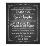 Thank you wedding sign customised chalkboard photo print