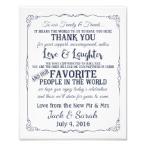 Thank you wedding sign customised navy