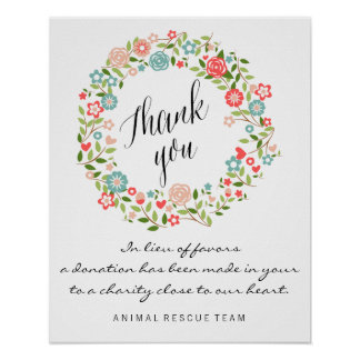 Thank you wedding sign | Floral | bothanical
