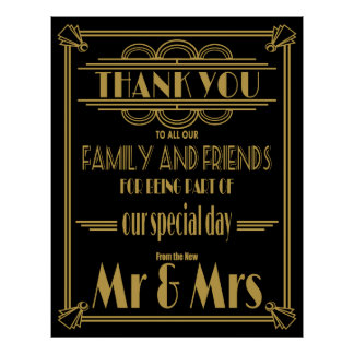 Thank you wedding sign Gold and Black