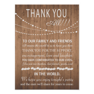 Thank you wedding sign or card - party lights poster