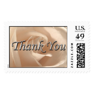 Thank You Wedding Silver Font Cream Rose Photo Postage Stamp