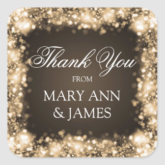 Thank You Wedding Sparkling Lights Gold Square Sticker