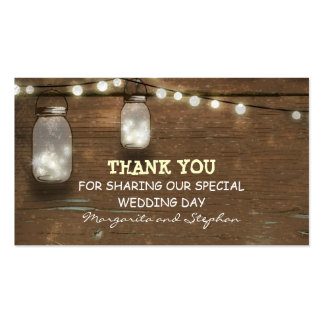 thank you wedding tag with string lights mason jar Double-Sided standard business cards (Pack of 100)