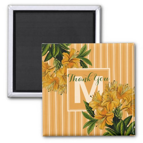 Thank You Wedding Turmeric Monogram Stripes Floral Magnet