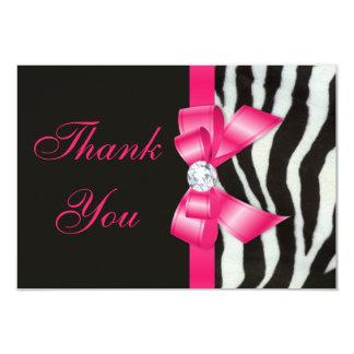 Thank You Wedding Zebra Hot Pink Bow 3.5x5 Paper Invitation Card