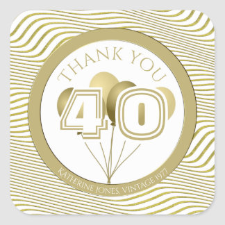 Thank You: White and Gold Any Birthday Party (SQ) Square Sticker