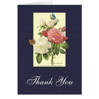 Thank You White and Red Roses Botanical Card