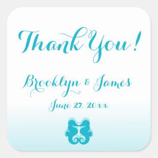 Thank You White Blue Seahorse Wedding Stickers