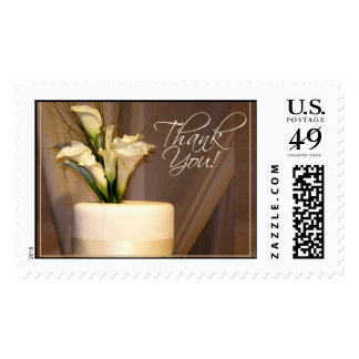 Thank you white cake with flowers postage