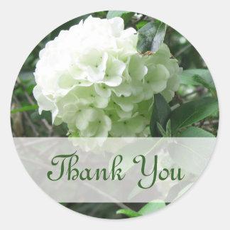 thank you white flower classic round sticker