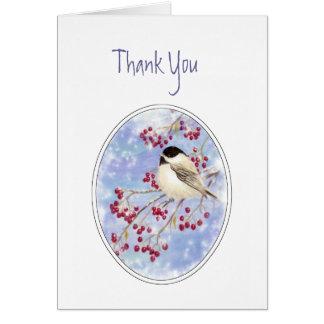 Thank You Winter Bird Berry Frosty Window Greeting Card