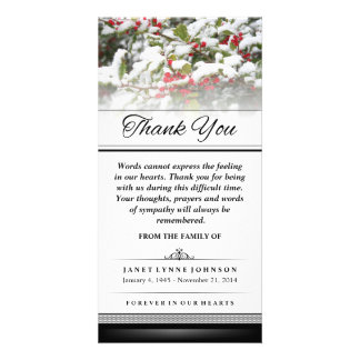 Thank You Winter Ivy Snow - Words Cannot Express Picture Card