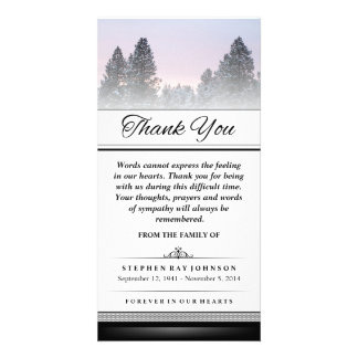 Thank You Winter Pine Trees Words Cannot Express Customized Photo Card