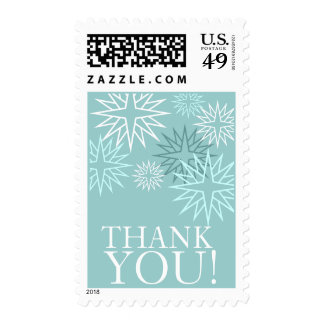 Thank You Winter Wedding Postage Stamps Blue