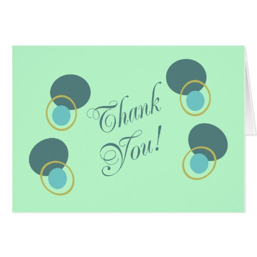 Thank You With Circles & Ovals, Blues & Tan Card
