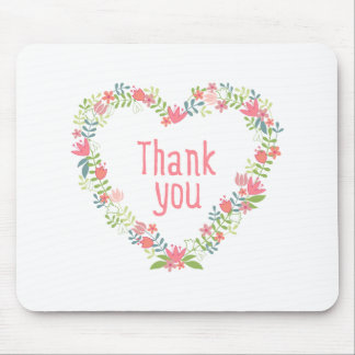 thank you with floral heart wreath mouse pad
