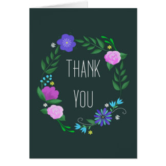 thank you with folk art flowers card