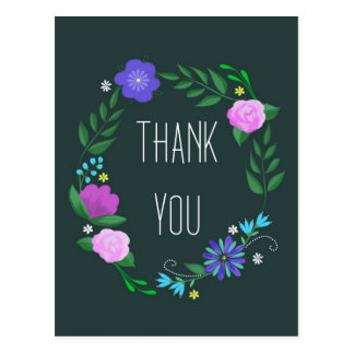 thank you with folk art flowers postcard