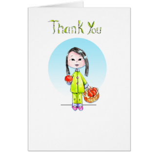 Thank You with Good Luck - long hair Stationery Note Card