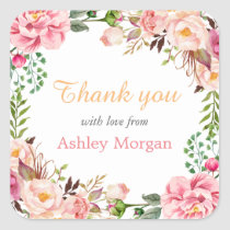Thank You with Love Romantic Chic Floral Wreath Square Sticker