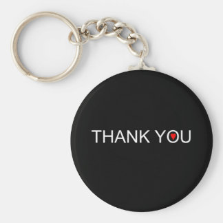 Thank you with one red heart basic round button keychain