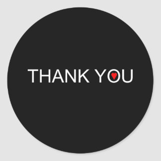 Thank you with one red heart classic round sticker