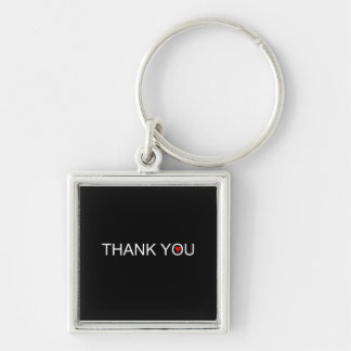 Thank you with one red heart Silver-Colored square keychain
