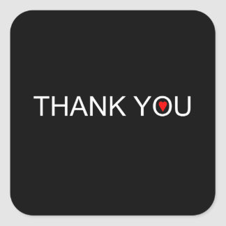 Thank you with one red heart square sticker