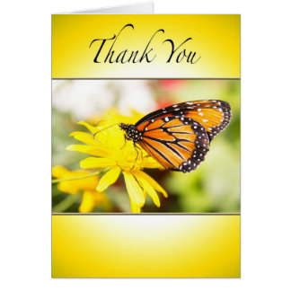 Thank You With Orange  Monarch Butterfly Card