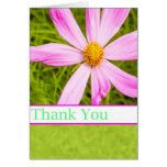 Thank You With Pink Cosmos Flower Greeting Card