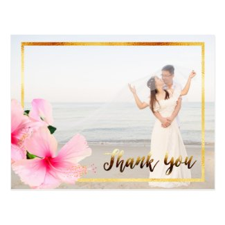 Thank You with pink hibiscus flower wedding photo