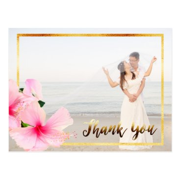 Beach Themed Thank You with pink hibiscus flower wedding photo Postcard