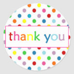 Thank You with Polka Dots ~ Paint/Art Party Classic Round Sticker