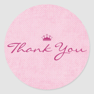 Thank You with Purple Tiara on Pink Polka Dots Classic Round Sticker