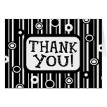 Thank You With Stripes And Circles Pattern Greeting Card