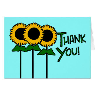 Thank You With Three Outlined Sunflowers Stationery Note Card