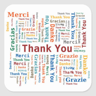 Thank You Word Cloud in 5 languages Square Sticker