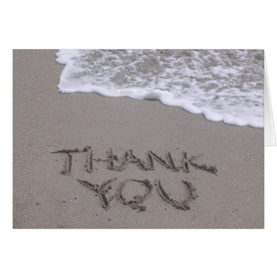 Thank You written in Sand Note Card