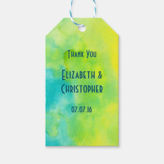 Thank You Yellow and Blue Watercolor Gift Tags
