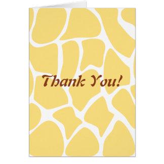 Thank You. Yellow and White Giraffe Pattern. Greeting Card