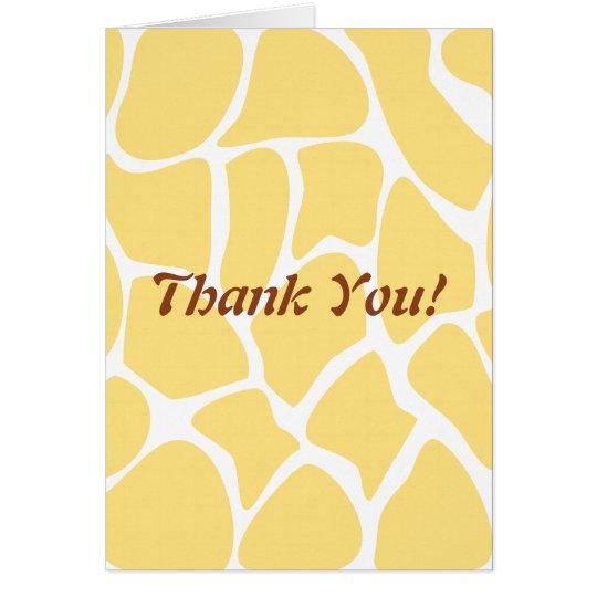 Thank You. Yellow and White Giraffe Pattern. Card
