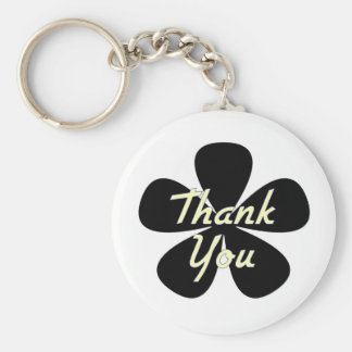 Thank You Yellow Flower Keychain